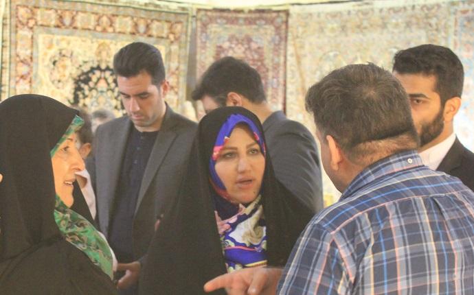ورود معاون رئیس جمهور در امورزنان و خانواده به بیست و هشتمین نمایشگاه فرش دستباف ایران