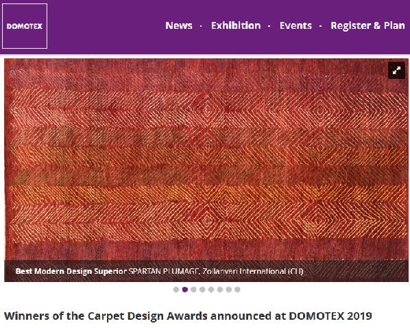 فرش ذوالانواری فرش برتر  طراحی مدرن در DOMOTEX 2019  آلمان شناخته شد